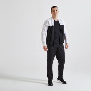 Trainingsanzug Fitness Cardio Herren schwarz/weiss
