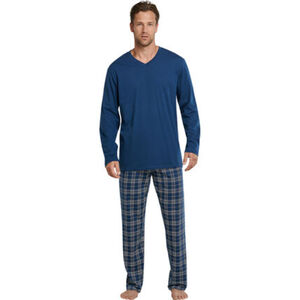 Schiesser Schlafanzug, lang, Karohose, Baumwolle, für Herren