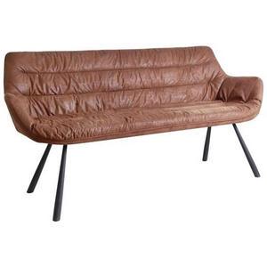 Hom`in Sitzbank struktur braun, schwarz , Heiko    -Hom In- , Textil , 3-Sitzer , 177.5x87.5x64 cm , pulverbeschichtet,Struktur , 001971008401