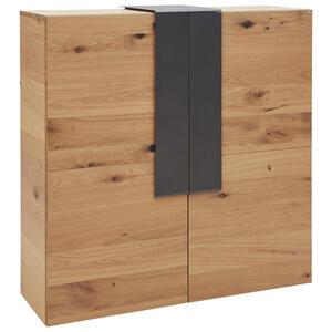 Voglauer Highboard wildeiche furniert, mehrschichtige massivholzplatte (tischlerplatte) anthrazit, eichefarben , V-Taurino , Holz , 3 Fächer , 128.2x131.2x43.5 cm , pulverbeschichtet,Echtholz , Beim