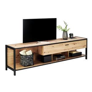 Carryhome Tv-element anthrazit, eichefarben , Algarve , Metall , 1 Schubladen , 215x57x46 cm , Melamin,Nachbildung , 000196012302