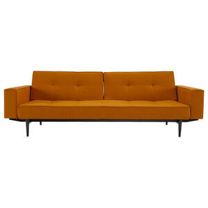 Innovation Schlafsofa flachgewebe gelb, currygelb , Splitback , Textil , 2-3-Sitzer , 242x79x115 cm , Flachgewebe , Stoffauswahl, Liegefunktion , 001658000715