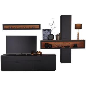 Hom`in Wohnwand schwarz, eichefarben , Frame   -Hom In- , Holzwerkstoff , 3 Fächer , 1 Schubladen , 310x210x50 cm , matt, lackiert,klar,Nachbildung,Nachbildung , 000682000501