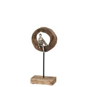 XXXLutz Skulptur , 96284 , Alufarben , Holz, Metall , Mangoholz , Personen , 9x39x18 cm , Echtholz , stehend , 003340002601