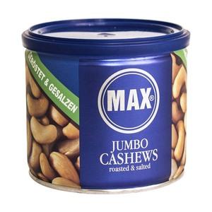Max Kiene Jumbo Cashews geröstet & gesalzen oder pikant gewürzt jede 150-g-Dose