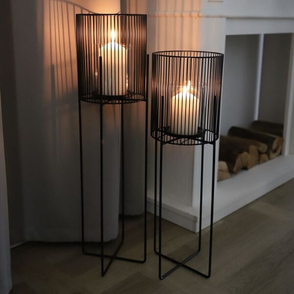 Metall-Windlicht mit Glaseinsatz 63cm
