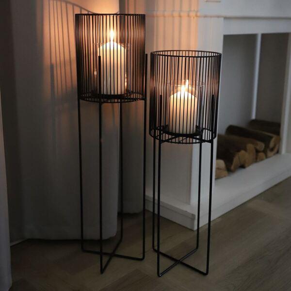 Metall-Windlicht mit Glaseinsatz 73cm
