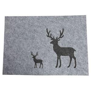 Weihnachts-Platzset Hirsch aus Filz 42x30cm Grau