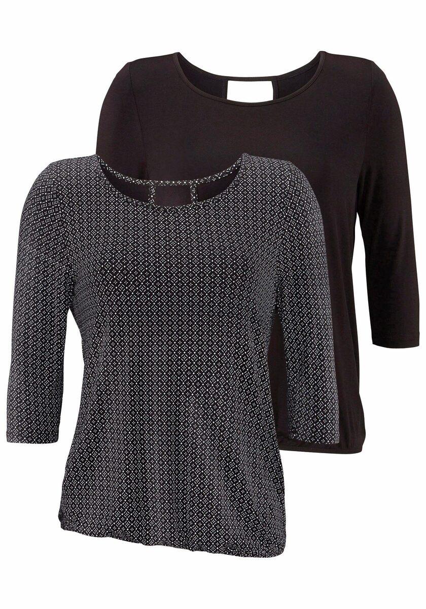 Bild 1 von LASCANA 3/4-Arm-Shirt (2er-Pack) mit modischem Cut-out im Nacken