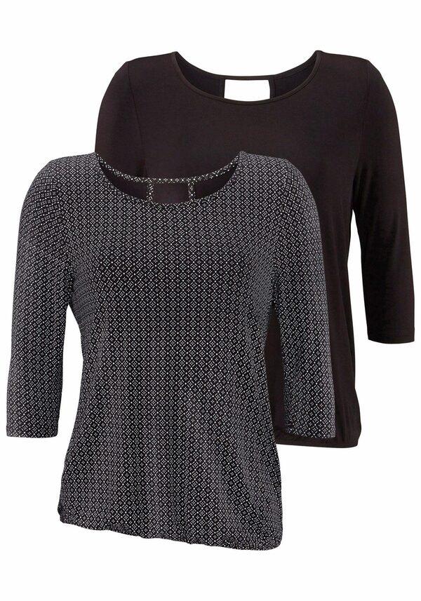 LASCANA 3/4-Arm-Shirt (2er-Pack) mit modischem Cut-out im Nacken