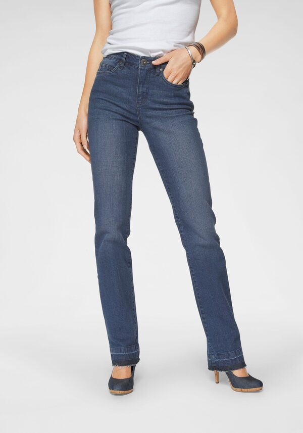 Arizona Gerade Jeans »Comfort-Fit« High Waist - mit Fransensaum
