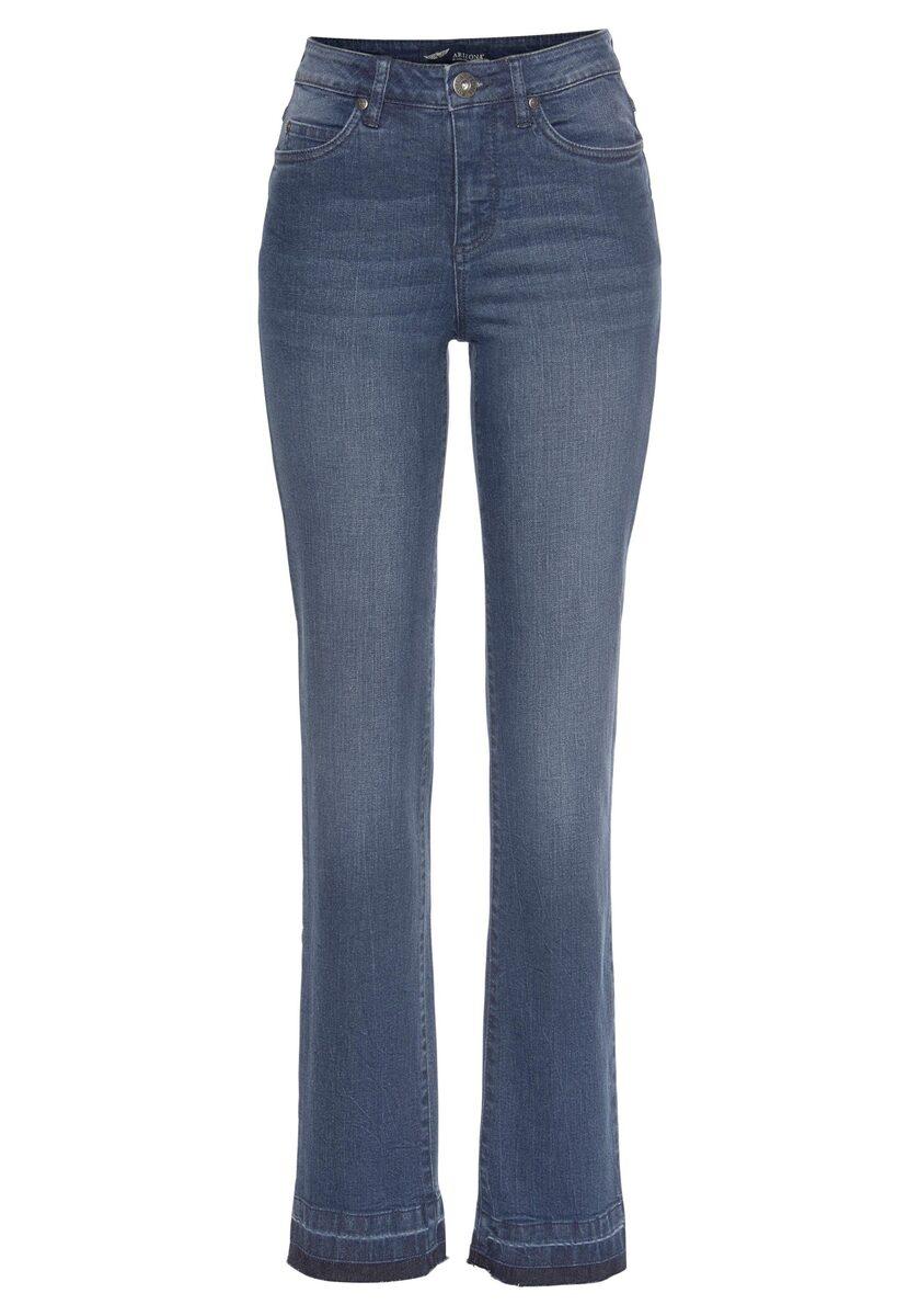Bild 3 von Arizona Gerade Jeans »Comfort-Fit« High Waist - mit Fransensaum