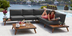 MERXX Loungeset »Athen«, 15-tlg., Ecklounge, Tisch 95x95 cm, Akazie/Alu