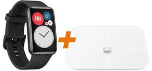 Huawei Bundle Watch Fit schwarz + AH100 Körperwaage (GPS, Bluetooth, Herzfrquenzüberwachung, Schlafüberwachung, bis zu 10 Tage Akkulaufzeit)