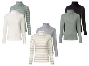 ESMARA® Rollkragenshirts Damen, 2 Stück, mit Baumwolle