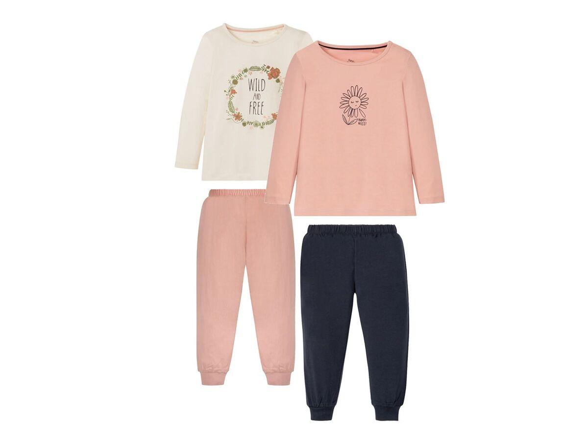 Bild 2 von LUPILU® Kleinkinder Schlafanzug Mädchen, 2 Stück, mit Print, aus Baumwolle