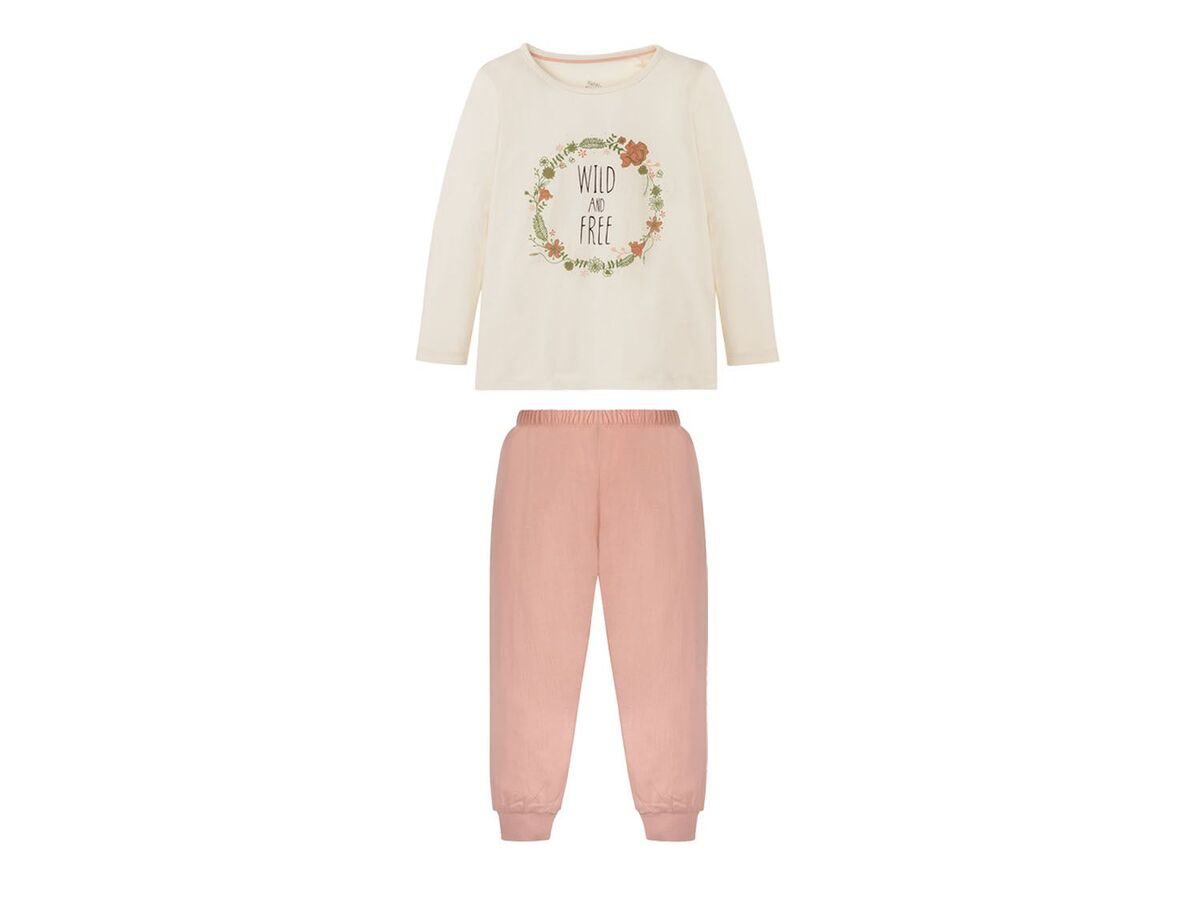 Bild 3 von LUPILU® Kleinkinder Schlafanzug Mädchen, 2 Stück, mit Print, aus Baumwolle