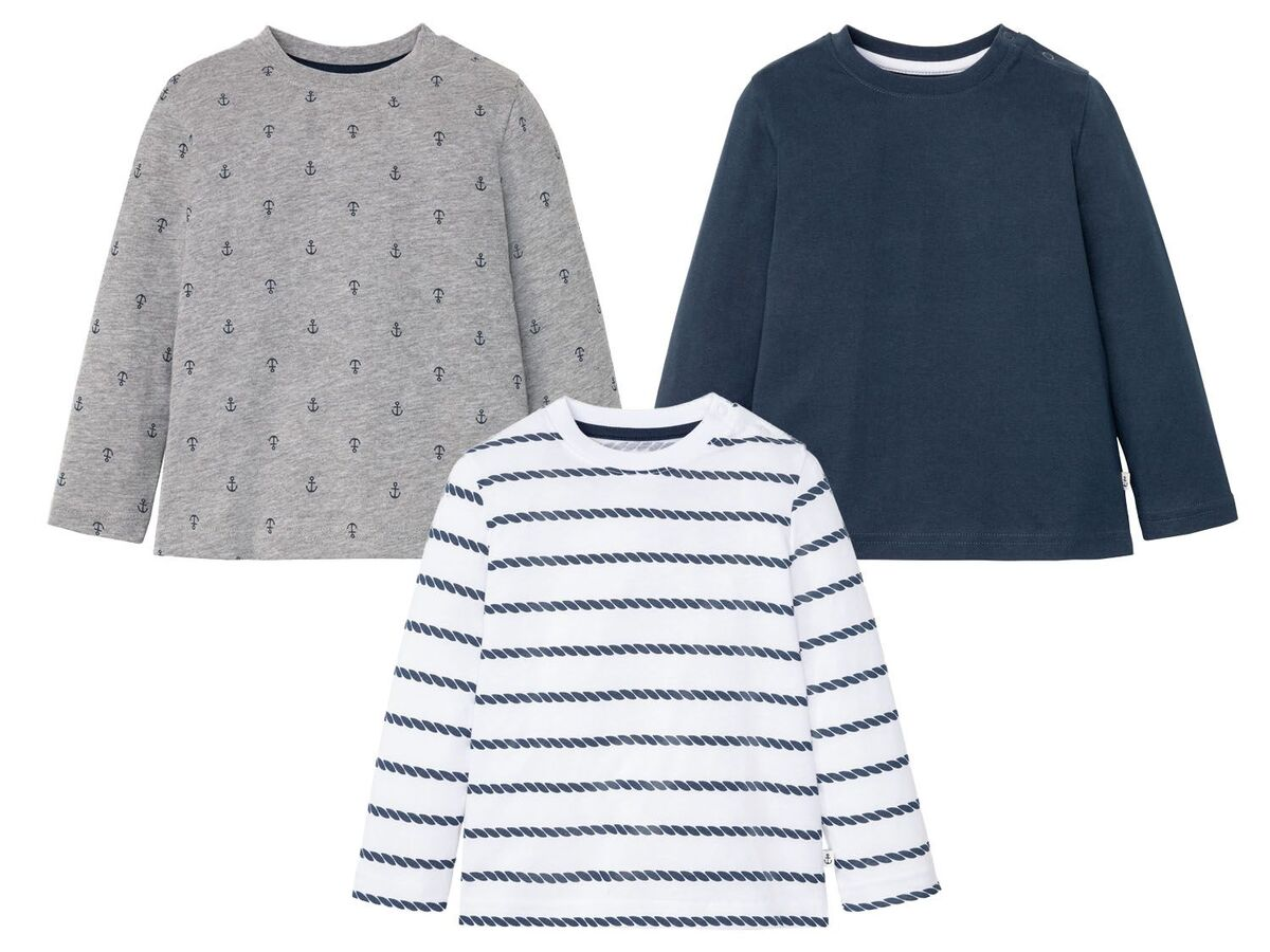 Bild 2 von LUPILU® Kleinkinder Langarmshirt Jungen, 3 Stück, mit Baumwolle