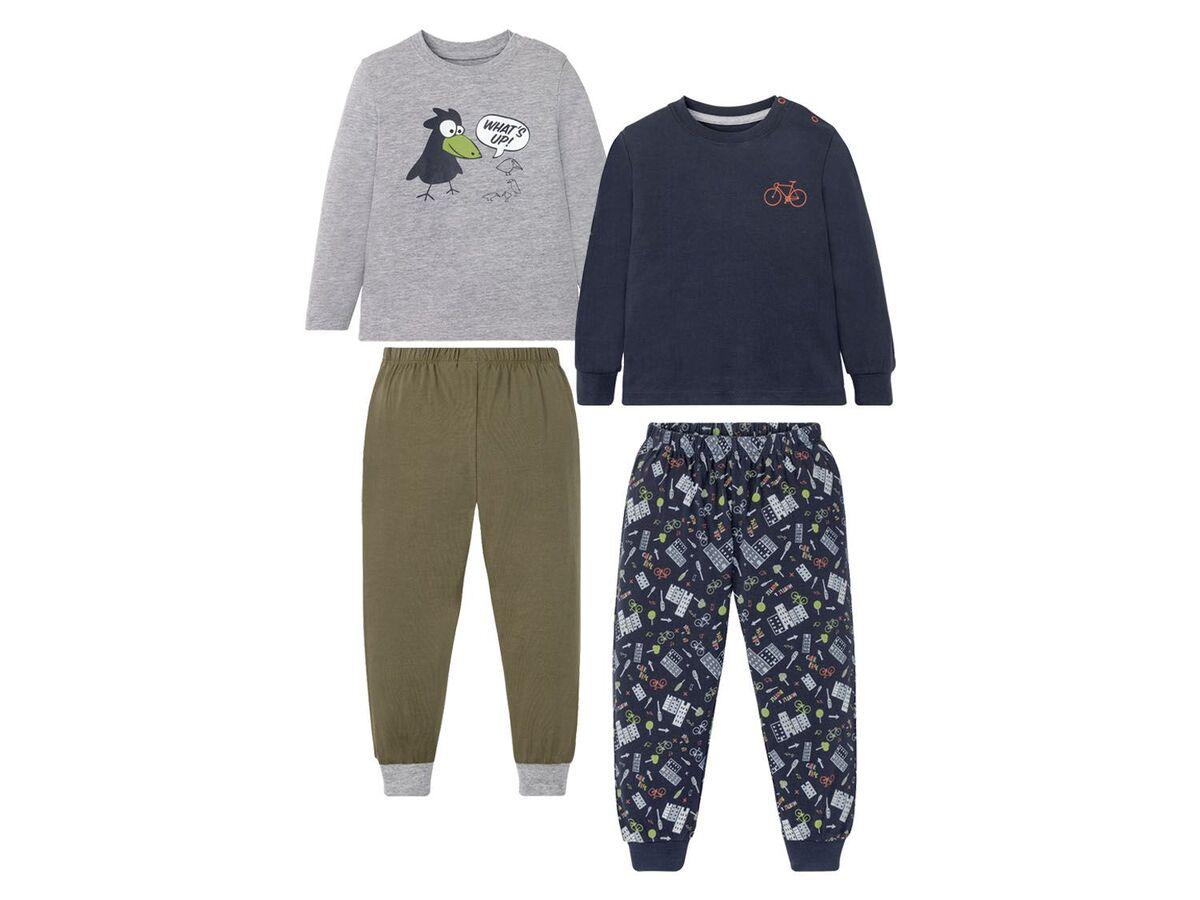 Bild 2 von LUPILU® Kleinkinder Schlafanzug Jungen, 2 Stück, mit Print, aus Singel-Jersey-Qualität