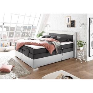 home24 loftscape Boxspringbett Bellmont 180x200 cm Webstoff/Kunsleder Anthrazit/Weiß mit Matratze/Topper