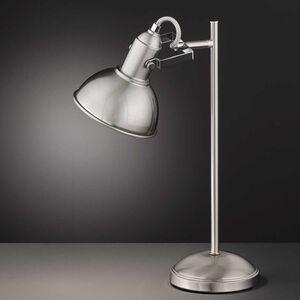 home24 Wofi Tischleuchte Scope Silber Eisen 1-flammig E27 30x50x14 cm (BxHxT)