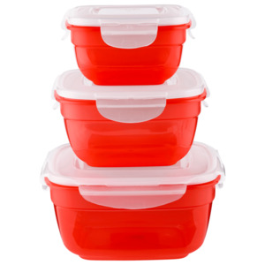 Lock&Lock Frischhaltedosen Rot 3er Set erdbeerrot