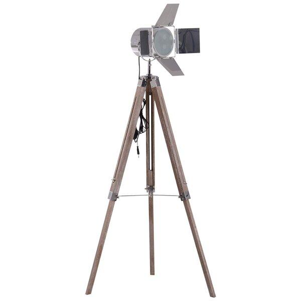 Homcom Tripod-Stehlampe in Scheinwerfer-Form natur/silber