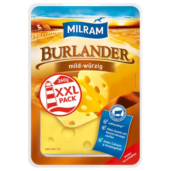MILRAM Käsescheiben, XXL-Packung 260g