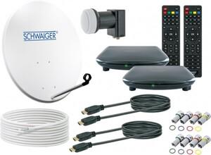 Schwaiger Satellitenkomplettanlage für zwei Teilnehmer ,  mit HDTV Empfang