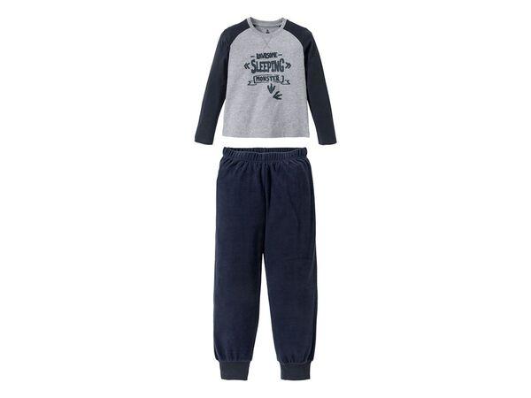 PEPPERTS® Jungen Pyjama, Shirt aus Baumwolle, Hose in Fleece-Qualität