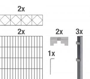 GAH Alberts Doppelstabmatten-Grundset Bergen 200 x 140 cm, 4 m, anthrazit