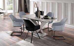 Glas Koch - Stuhlgruppe 3036 in schwarz / grau