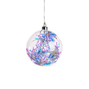 Lichtobjekt Holokugel Glas, Batterien, D:15cm, pastell