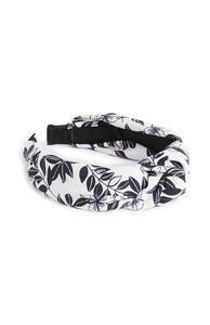 Schwarz-weißes Haarband mit Blattmuster