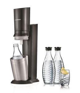 SODASTREAM 1216513490 Crystal 2.0 + 3 Glaskaraffen Wassersprudler Titan