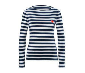 Gestreiftes Langarm-Shirt mit Herz-Applikation