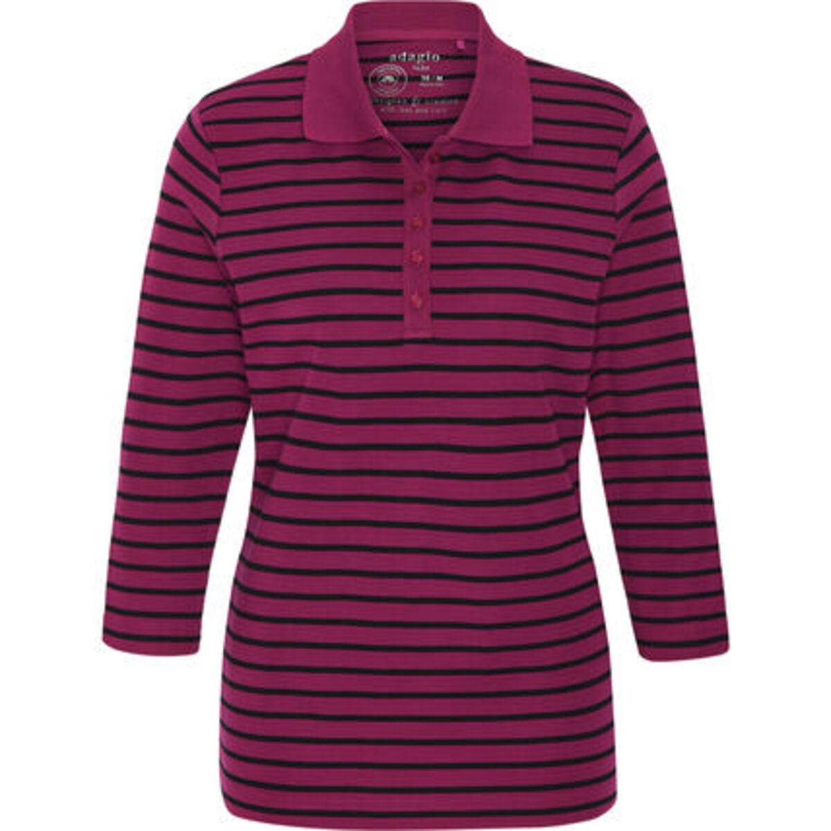 """Bild 1 von Adagio Poloshirt """"Tilda"""", 3/4 Ärmel, Streifen, Pima Cotton, für Damen"""