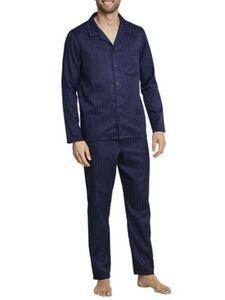 Seidensticker Herren Pyjama durchgeknöpft, Websatin Basic Line