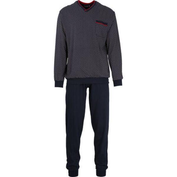 Götzburg Schlafanzug, lang, Brusttasche, Logo-Schriftzug, für Herren