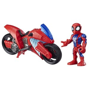Playskool Heroes Marvel Super Hero Adventures Spider-Man Swingin' Speeder mit Motorrad