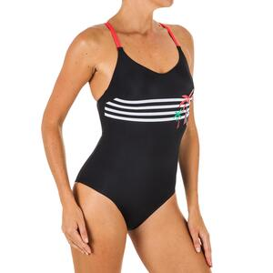 Badeanzug Riana Palm Stripe Damen schwarz