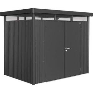 Biohort Metall-Gerätehaus HighLine H2 Dunkelgrau 275 cm x 195 cm mit Doppeltür