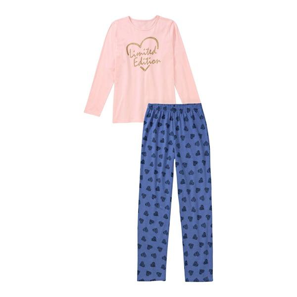 Mädchen-Schlafanzug mit Herzmuster, 2-teilig
