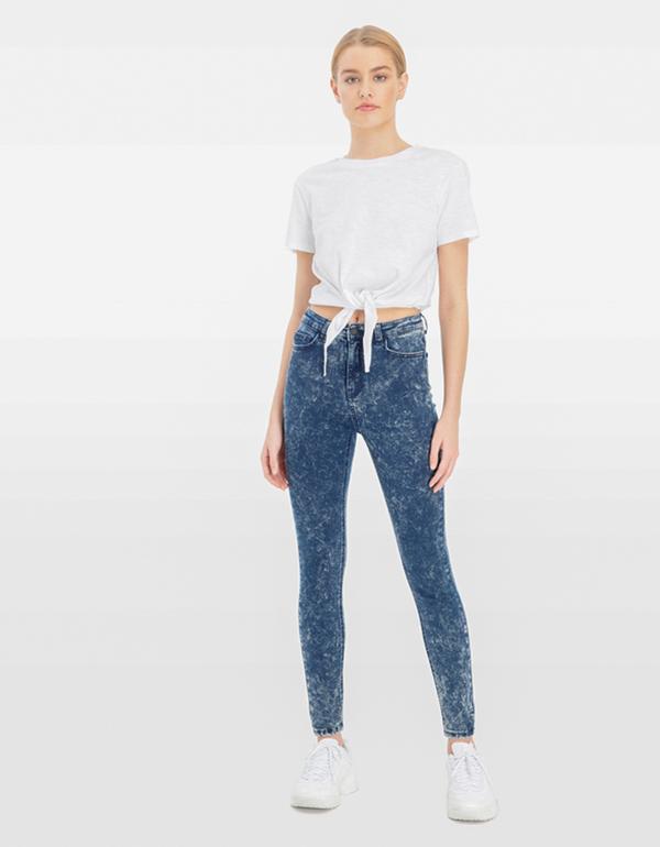 Verwaschene High Waist Skinny Jeans