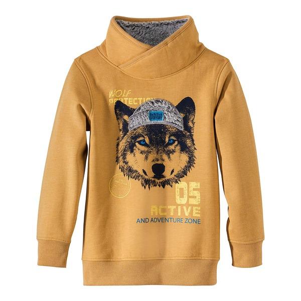 Kinder-Jungen-Sweatshirt mit coolem Wolf-Print