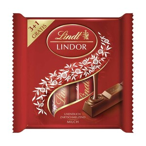 Lindor Milch Stick Multipack 3 + 1 jede 100-g-Packung
