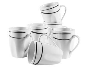 MÄSER Serie Oslo, Kaffeebecher 6er-Set, große Tassen, klassisch, zeitlos, elegant, Porzellan, schwarz-weiß