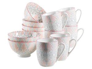 MÄSER Serie Nantes, Kaffeebecher und Schüsselset, Porzellan Geschirr-Set für 6 Personen, dekoriert in den Farben Grau und Rosa