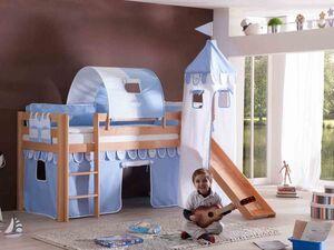 Relita Spielbett Hochbett Kinderbett ALEX mit Rutsche/Turm natur lackiert mit Stoffset blau/boy