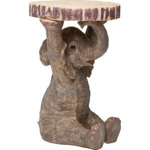 Kare-Design Beistelltisch rund grau, hellbraun , Animal Elefant , Kunststoff , 36x54x35 cm , lackiert , 001838109402